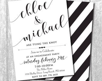 Simple Engagement Party Invitation printable/Digital File/black and white, stripe, classic, calligraphy/Wording and ink can be changed