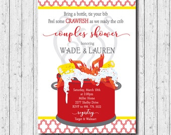 Crawfish Boil Invitation baby couples shower printable/Digital File/seafood boil, diaper shower, graduation, birthday/Wording can be changed