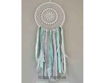 Dream catcher in mint grey and white  Hoop 25 cm - 10 inch
