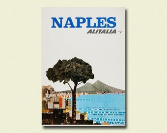 Italy Travel Print 1966 - Vintage Travel Poster Napoli Poster Italy Poster Gift Idea Italian Print Travel Wall Art