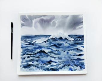 Sea Watercolor Art Seascape painting Ocean painting  Abstract landscape Blue watercolor Modern art