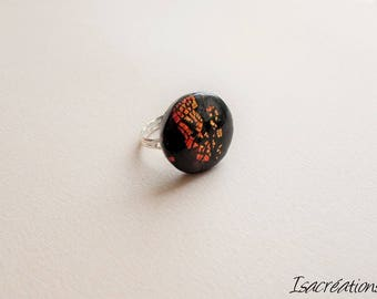 ring black and metallic orange and red tones handmade