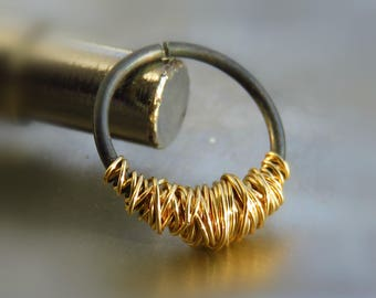 Black Septum Ring // Gold Septum Ring 16g // Body Piercing. // Silver Septum Ring //