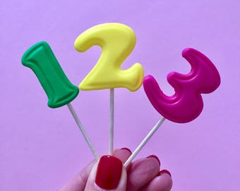 Set of 12 Rainbow Number Caketoppers