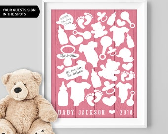 Pink Baby Shower Guest Book Alternative / Girl Baby Guest Book, Onesie, Teddy Bear, Duckie Baby Shower ▷Canvas, Board, Paper {or} Printable