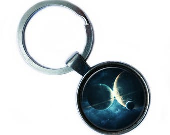 NASA Photograph Interplanetary Love Planet Keychain Keyring