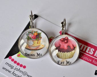"chic asymmetrical cabochon post Earring ""eat me"" and ""drink"