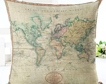 Antique World Map Vintage Colourful Cute Pillow Cushion Cover Linen Cotton