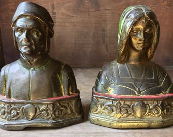 Pair of Antique Arts and Crafts Bookends Dante & Beatrice Armor Bronze Co. Wabi Sabi