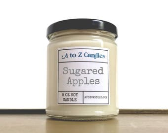 Apple Candle, Sugared Apple, Apple Scented Candle, Fall Candle, Autumn Candle, Winter Candle, Apple Soy Candle, Glass Jar Candle, Apples