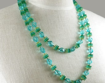 Blue Green Long Plastic Bead Chunky Necklace