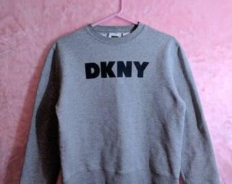 DKNY Crewneck Sweatshirt Sz S Gray Spellout Logo Donna Karen New York 1990s Vtg