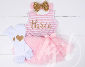 Third birthday outfit dress with gold letters and pink tutu for girls 3rd birthday, pink and gold