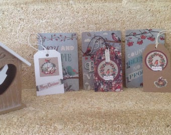 Set of 3 cards and 3 tags tags birds collection