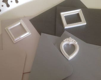 Set of 3 folded cards with envelopes and plastic frames