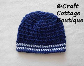 Baby Boy Hat - Crochet Baby Hat - Navy Blue and White Beanie - Infant - Choose Your Size - Photograph Props - Stocking Cap
