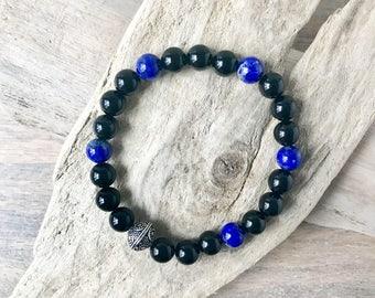 8MM Designer Gemstone Stretch Bracelet with Sterling Silver Accents - Mens Onyx and Lapis Bracelet - Beaded men's Bracelet