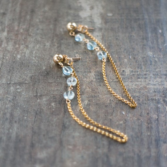 Aquamarine Chain Earrings - March Birthstone