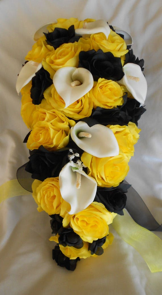 Yellow and black cascading silk bridal bouquet 4 pieces roses