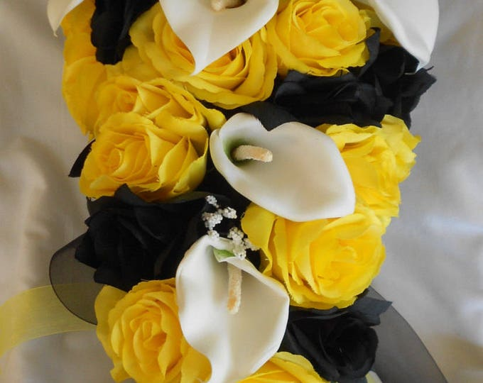 Yellow and black cascading silk bridal bouquet and matron of honor with free boutonniers and a small toss 5 pieces roses