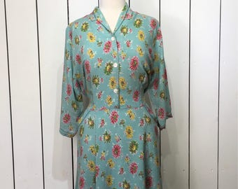 Original 1940's VOLUP Cotton Day Dress - Beautiful Floral in Pinks, Greens and Yellows on a bed of Duck Egg
