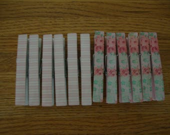 12 Lot Treasures Simply SHABBY CHIC Wood CLOTHESPINS Set White Pink Roses Pinstripes