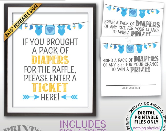 "Diaper Raffle Ticket Printable Sign, Enter a Raffle Ticket Baby Shower Raffle Tickets, Instant Download PRINTABLE Blue 8x10"" Sign & Tickets"