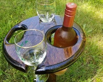 Folding Wine Table - Outdoor Wine Holder - Wooden Wine Holder - Portable Wine Table - Wine Bottle Holder