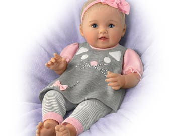 Ashton Drake - Itty Bitty Kitty Realistic Baby Girl Doll In Kitten Themed Outfit by Artist Ping Lau