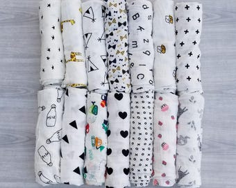 100% Cotton Muslin Baby Swaddles Bedding Washcloth Shower Gift