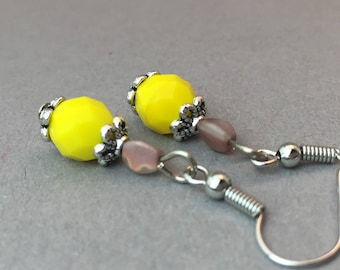 Pearl earrings in yellow//silver colour//Rose gold Matt//gift//