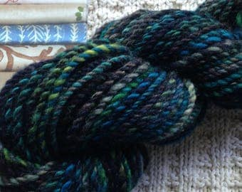Studies in Color:  Northern Lights - Handspun Yarn - Wool - Black, Blue, Green and Purple