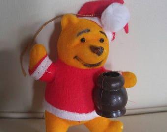 Flocked Winnie the Pooh christmas ornament
