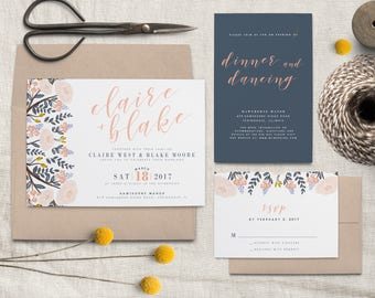 Navy and Pink Floral Wedding Invitation Suite(DIGITAL FILE)
