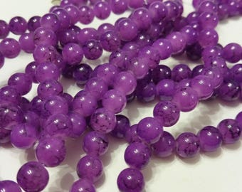18 glass beads 8mm purple round