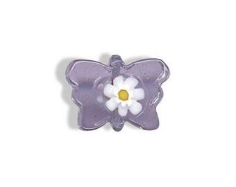 Butterfly purple murano glass bead