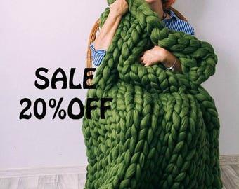 SUMMER SALE SALE! Chunky Knit Blanket, Australian merino, wool throw, chunky blanket.