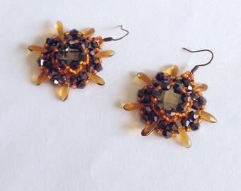 Orange and dark bronze Urchin earrings with seed beads
