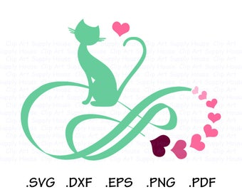 Cat SVG, Infinity Cat SVG, Cat Digital Clipart, Cricut files, Cat Lover Infinity SVG, Animal svg File, Vinyl Cutter, Silhouette File - CA466