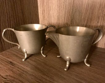 Revere Pewter by Benedict 453 Metal Footed Creamer and Sugar Bowls/Cups