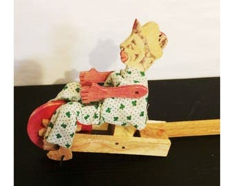 Antique Wooden Mexican Folk Art Push Toy Clown