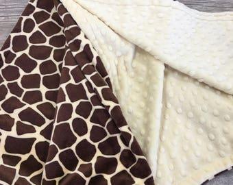 Gender Neutral Blanket, Giraffe Minky Baby Blanket, Stroller Blanket Baby Shower Gift