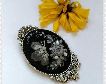 GR5 Gray butterfly brooch