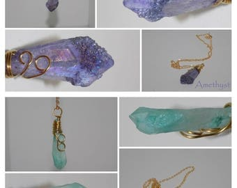 Raw Natural Quartz Druzy Crystal Gem Stone Pendant Colorful Wire Wrapped Necklace Handmade