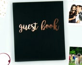 """Fast Shipping> Photo Guest Book Wedding Alternative Guest Book. Rose Gold Wedding Guest Book, Birthday Guest Book. Flatlay Softcover 8.5""""x7"""""""