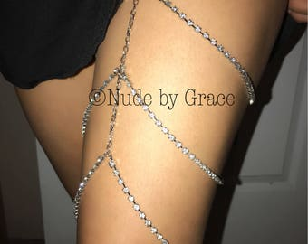 15% off sale, thigh high crystal jewelry, body jewelry, leg bracelet, thigh high jewelry, crystal garter, clubwear, festival thigh high