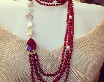 Ruby root necklace and Scaramazze pearls