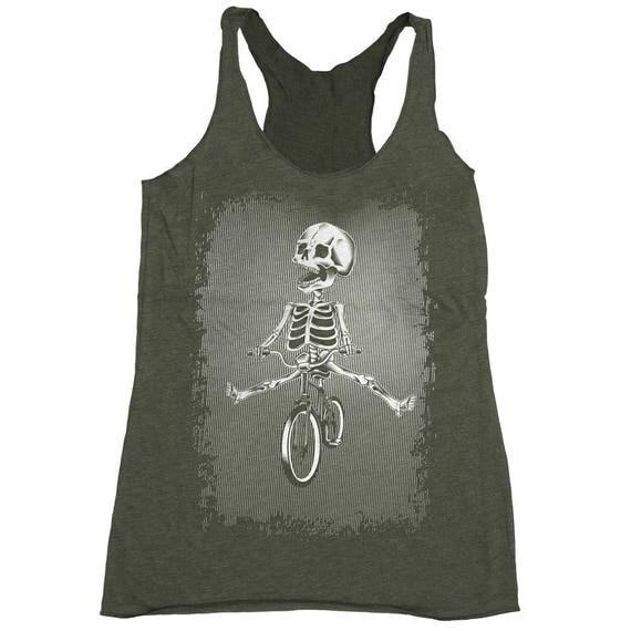 Halloween Bicycle Shirt - Womens Bike Shirt - Skeleton Riding a Bike Hand Screen Printed on a Womens Tank Top