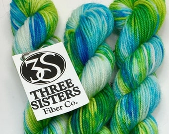 Indie dyed Merino, Nylon sock minis.  92 yards / 20 grams of fibery fun colors for your next knitting, crochet or weaving project.