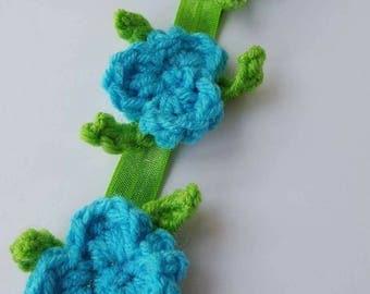 Princess Poppy Headband ~ Trolls ~ Crochet Flowers ~ Costume ~ Dress Up ~ Halloween ~ Toddler ~ Girls ~ Photo Prop ~ Blue ~ Elastic